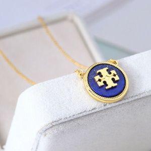 Tory Burch Semi-Precious Lapis Gold/Blue Necklace